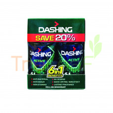 DASHING FOR MEN DEODORANT ROLL ON ACTIVE TWINPACK 125ML