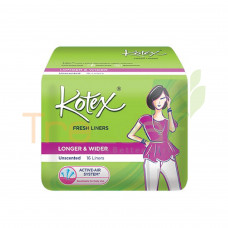 KOTEX F/LINERS LONG&WIDER UNSCENTED 16'S